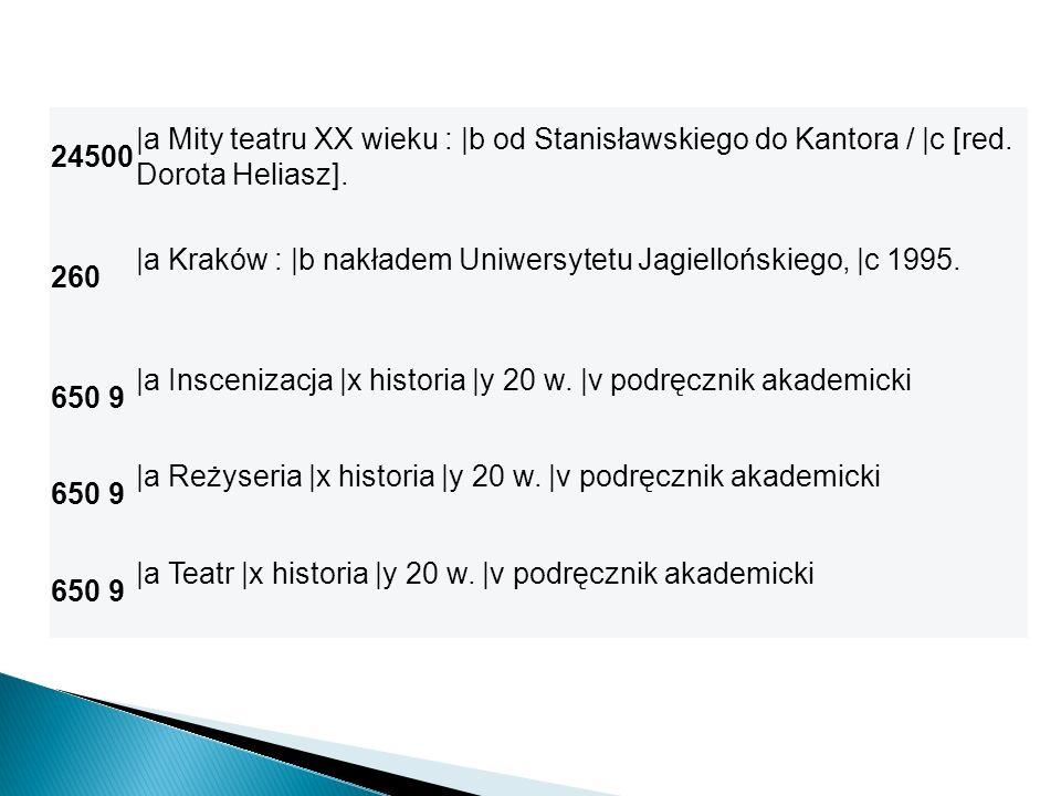 24500 |a Mity teatru XX wieku : |b od Stanisławskiego do Kantora / |c [red. Dorota Heliasz]. 260.